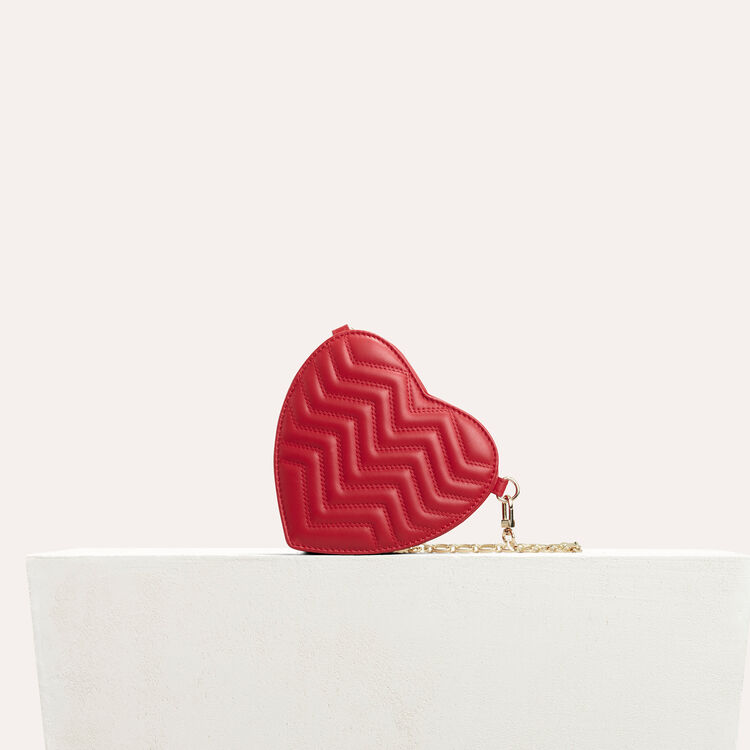 Quilted leather heart-shaped saddle bag : Shoes & Accessories color Red