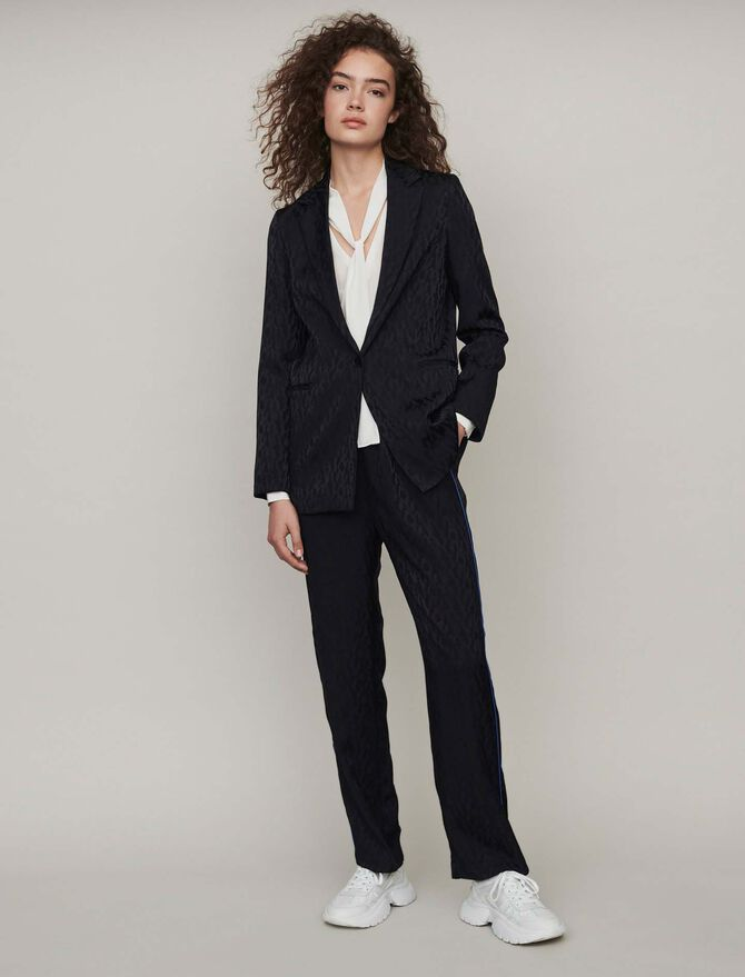 Loose-fit satin jacquard jacket - Coats & Jackets - MAJE
