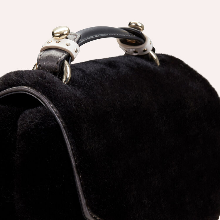 Faux-fur evening handbag : Shoes & Accessories color Black 210