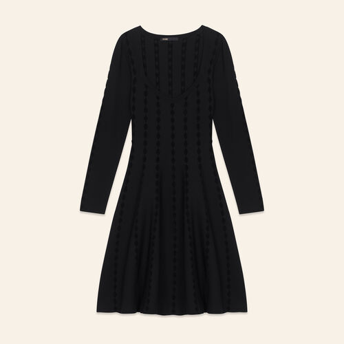 Knitted dress with embroidery : Dresses color Black 210