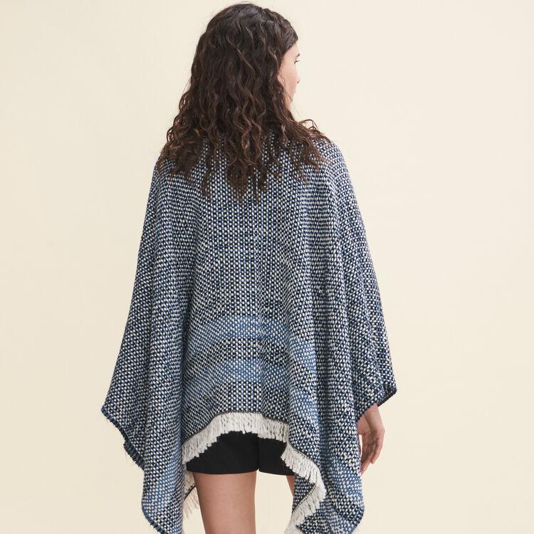 Decorative two-tone knit poncho : Scarves color Blue