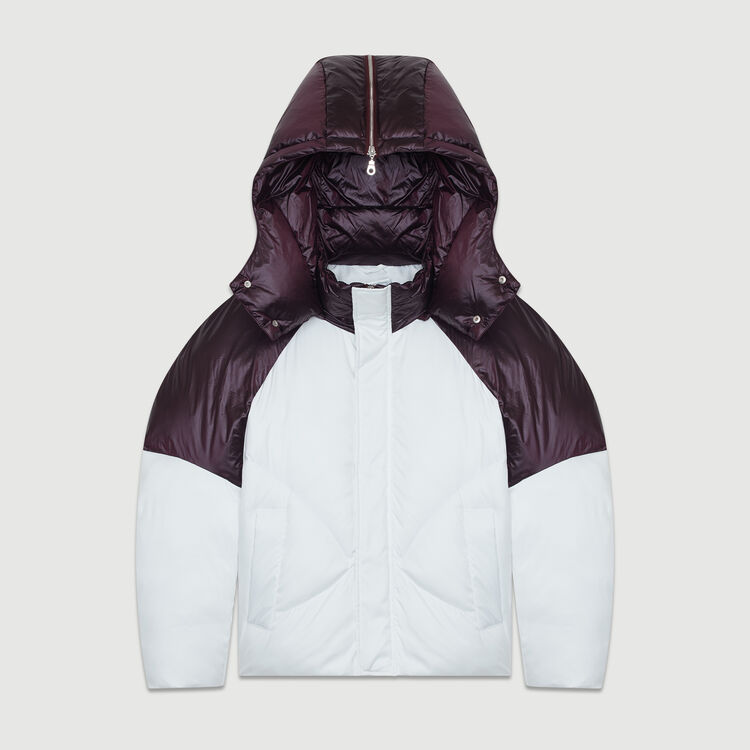 Cropped bicolor down jacket : Coats & Jackets color White