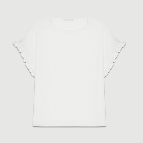Oversized t-shirt with flounce sleeves : Tops & T-Shirts color White