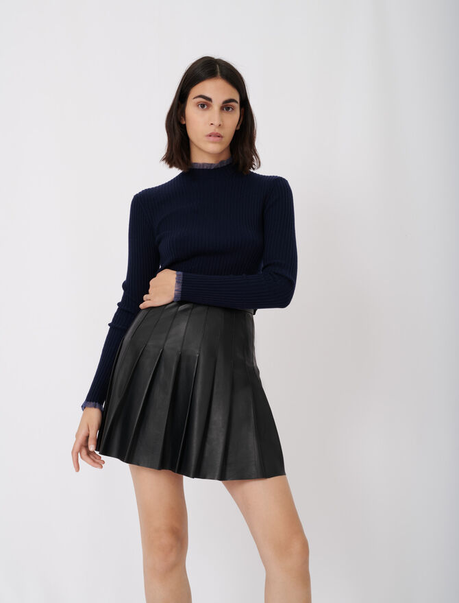 Pleated leather skirt - Skirts & Shorts - MAJE
