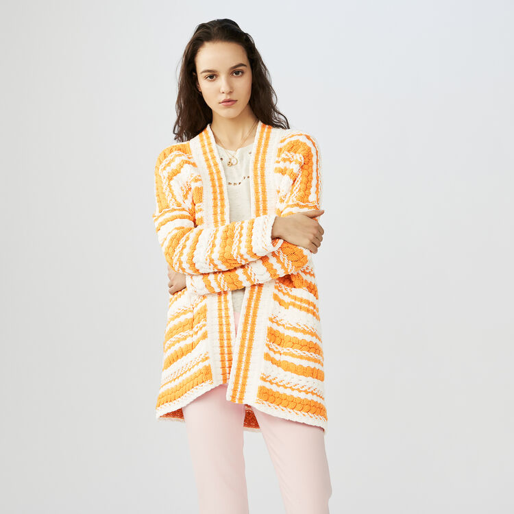 Oversized bicolored knit cardigan : Sweaters color Multi-Coloured