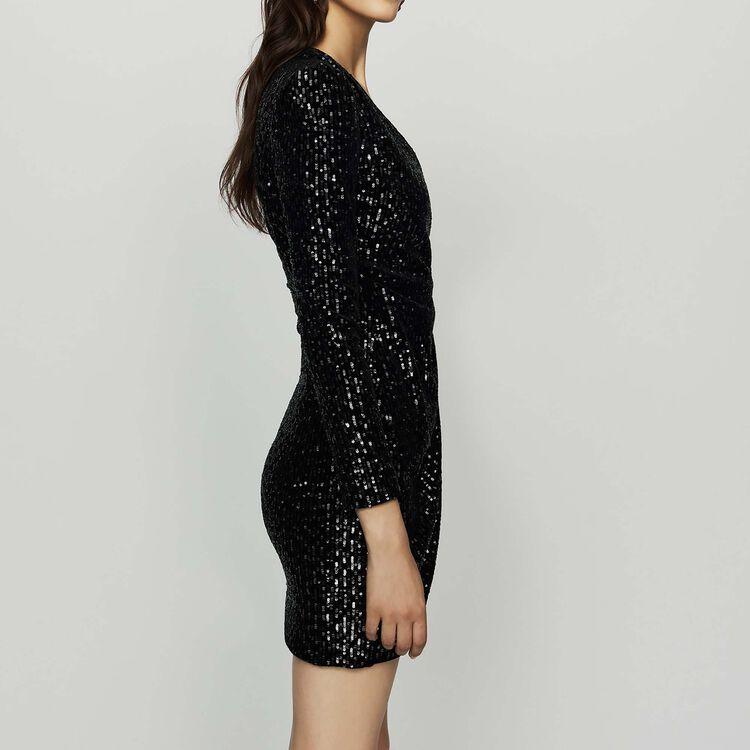 Wrap Dress with Sequins : Dresses color Black 210