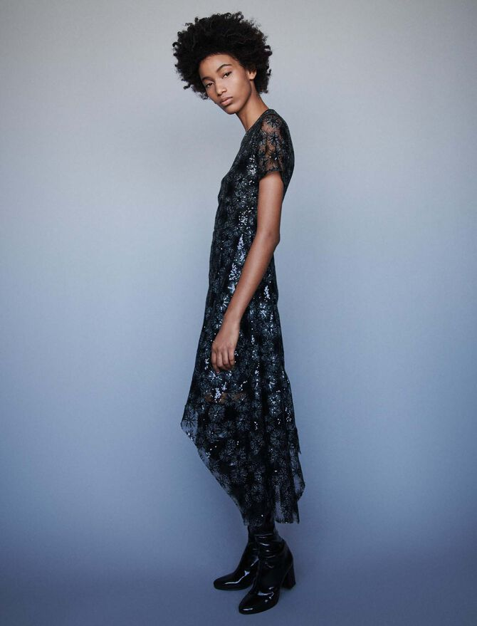 Long sequin-embroidered tulle dress - Dresses - MAJE
