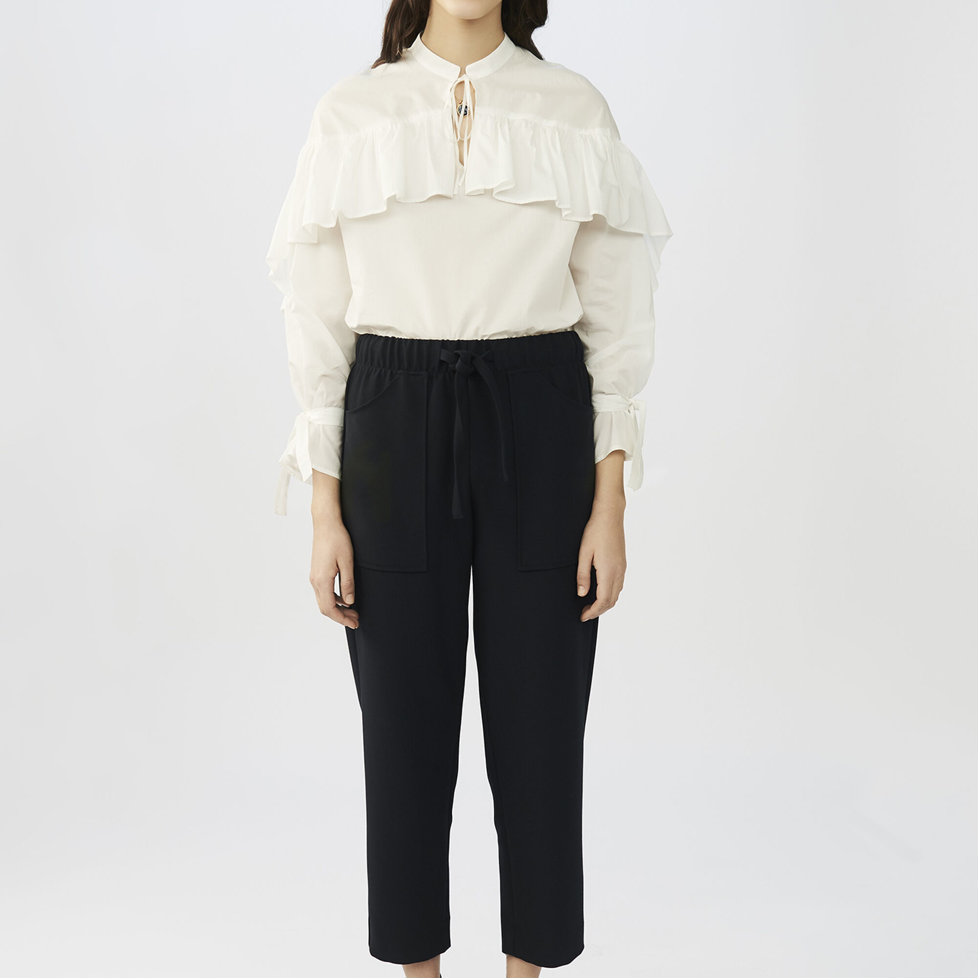 Maje Femme Crêpe Pantalon Large Jambe Blanc Taille 40 Maje AgUQKPG9