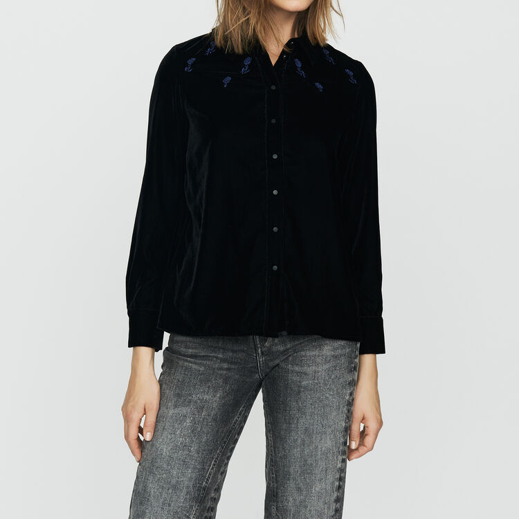 Shirt in embroidered velvet : Tops & Shirts color Black 210