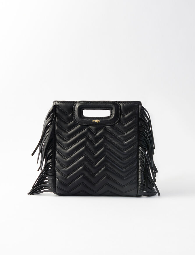Quilted Mini M Bag with Leather Fringe -  - MAJE