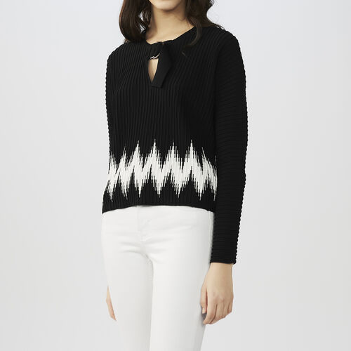 Novelty knit sweater : Sweaters color Black 210