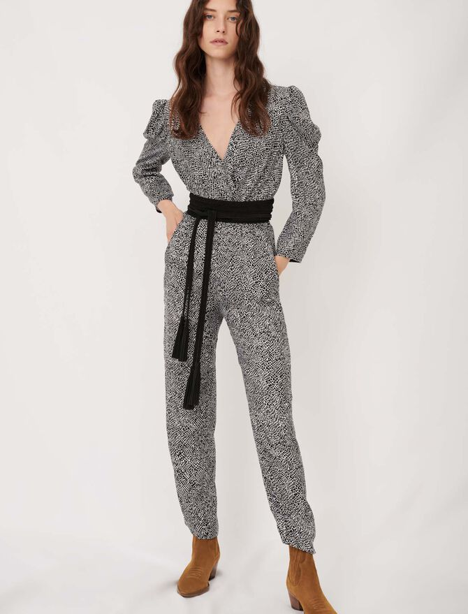 Flowing animal print jumpsuit - Jumpsuits & Rompers - MAJE