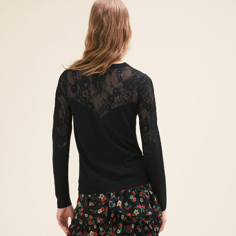 Fine jumper with lace and embroidery : Sweaters color Black 210