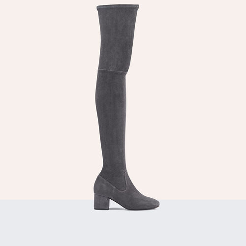 Flat suede calfskin thigh boots - Shoes - MAJE