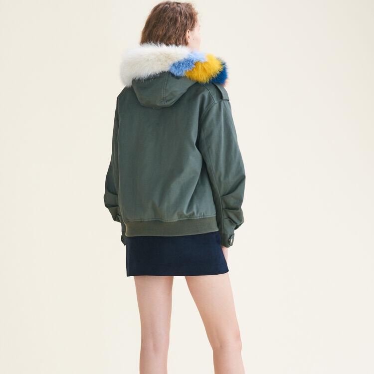 Jacket with multicoloured fur : Coats & Jackets color Khaki