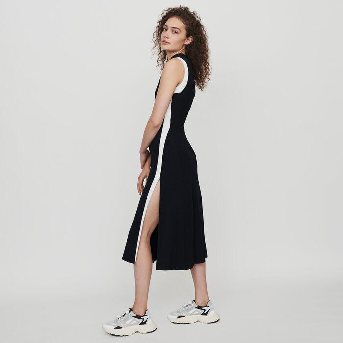 Split and contrasting ribbed dress : Dresses color Black