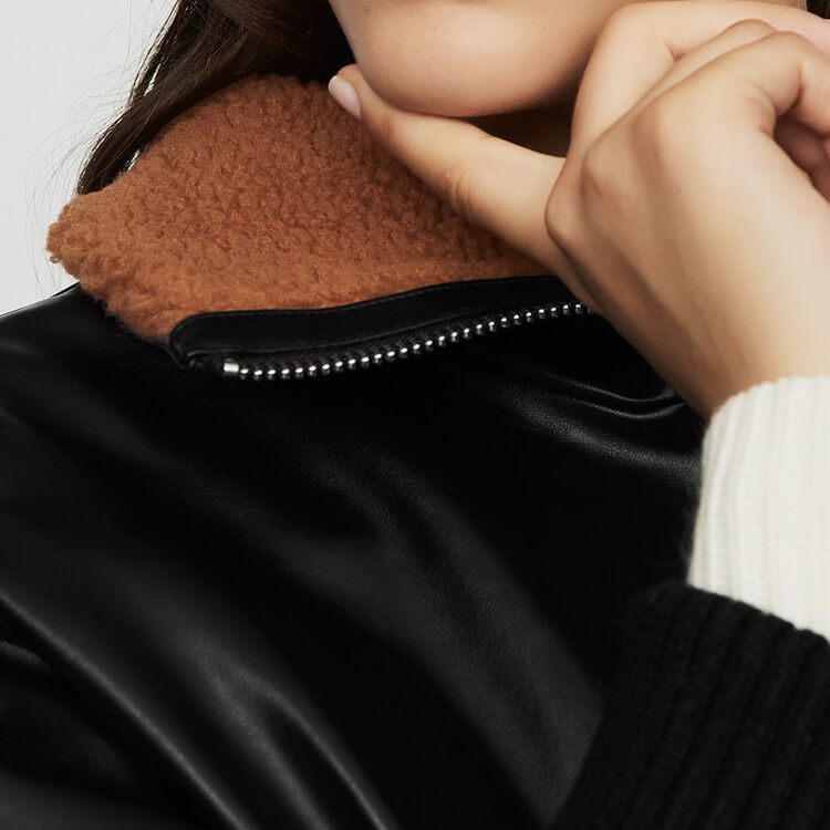 Leather-style jacket with fur collar : Coats & Jackets color Black 210