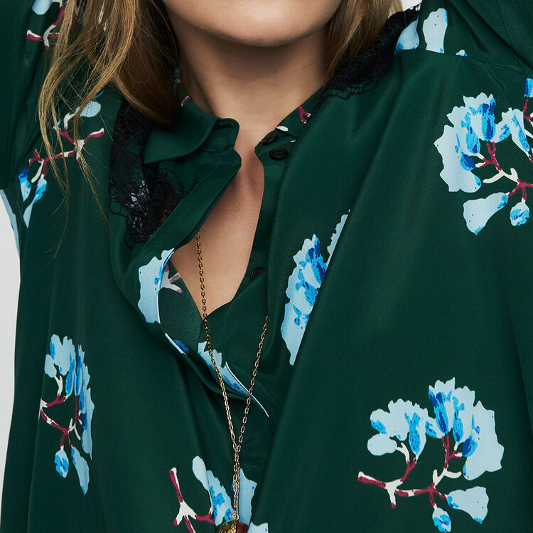 Printed blouse with lace : Tops & Shirts color Print