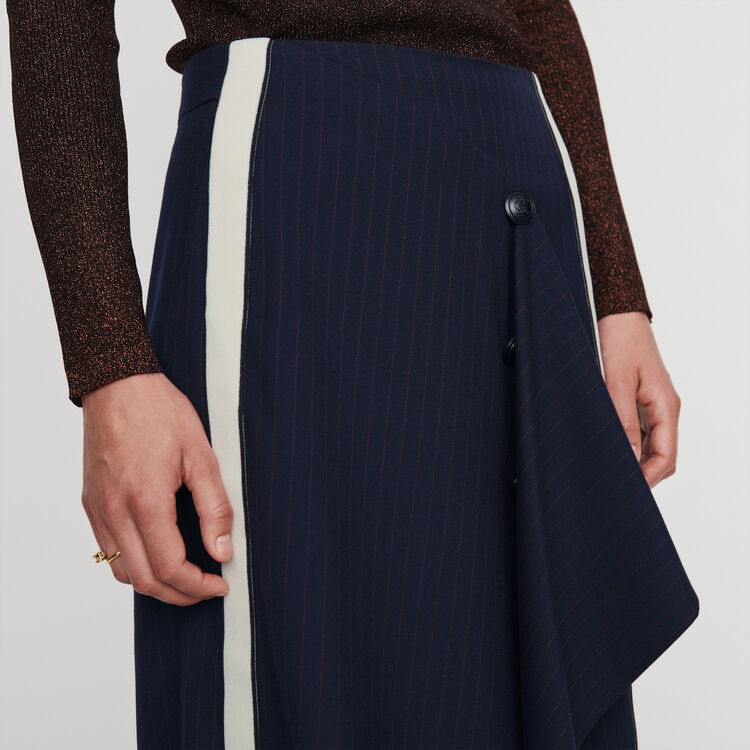 Skirt with pinstripes : Skirts & Shorts color Navy
