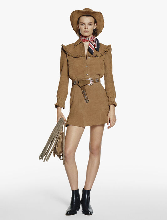 Ruffled suede skirt : New Collection color Camel