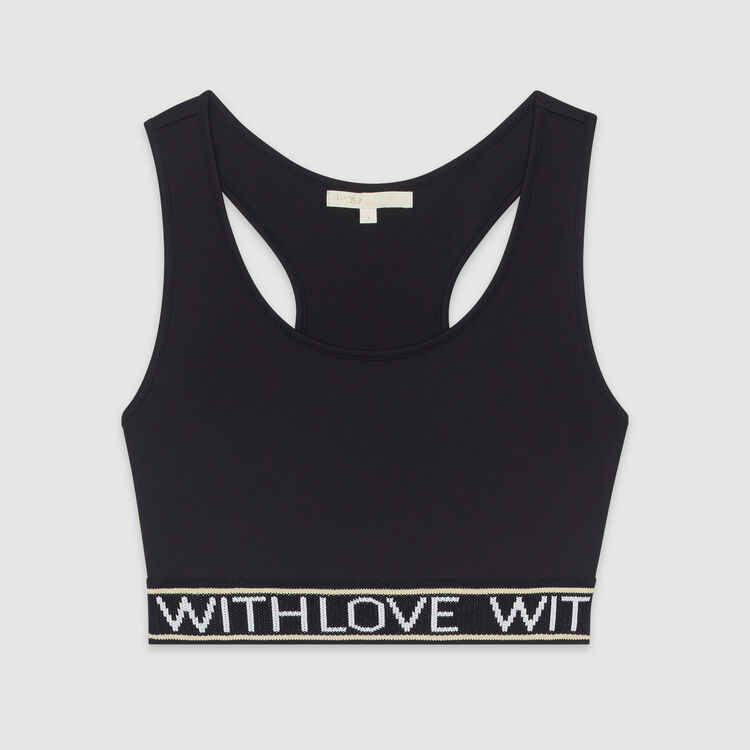 Sports bra with slogan band : Tops & T-Shirts color Black 210