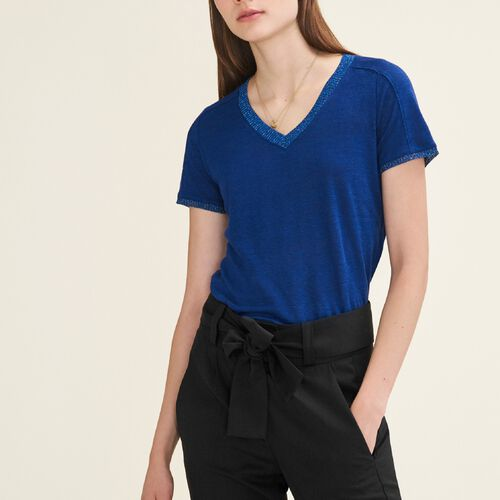 T-shirt with lurex detailing : Tops & Shirts color Blue