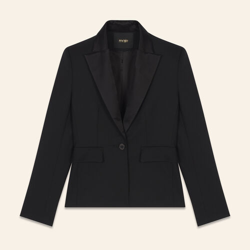 Wool blend tailored jacket : Coats & Jackets color Black 210