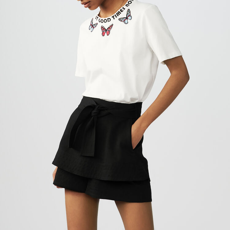 Embroidered cotton T-shirt : Tops & Shirts color White