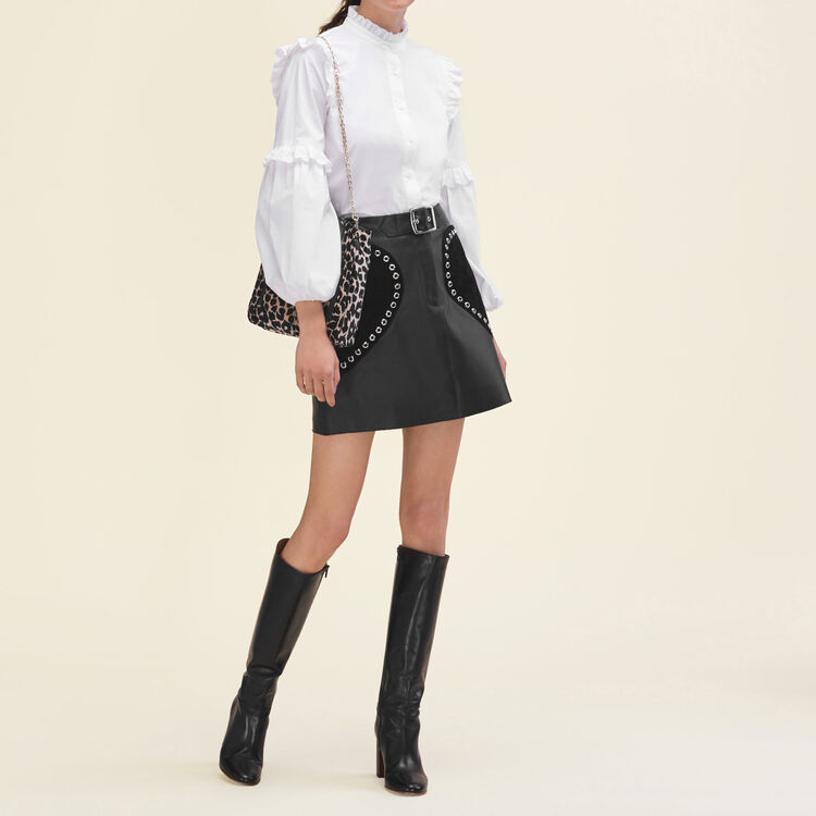 Leather A-line skirt : null color