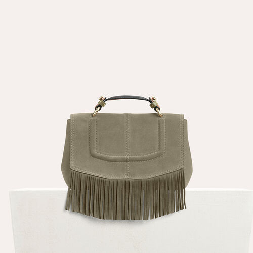 Mini satchel in suede with fringe - All bags - MAJE