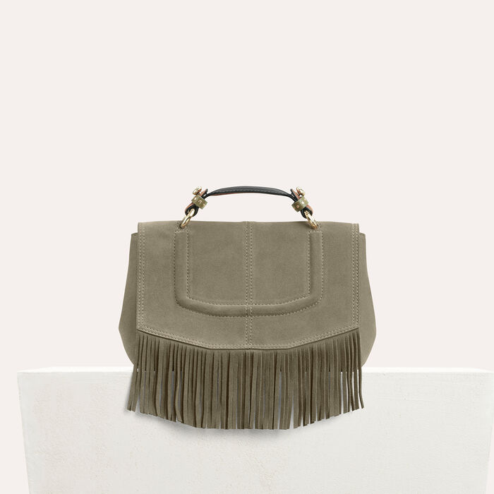 Mini satchel in suede with fringe : All bags color Khaki