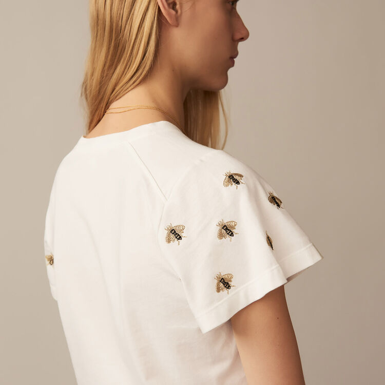 T-shirt with embroidered bees : Tops & T-Shirts color Ecru