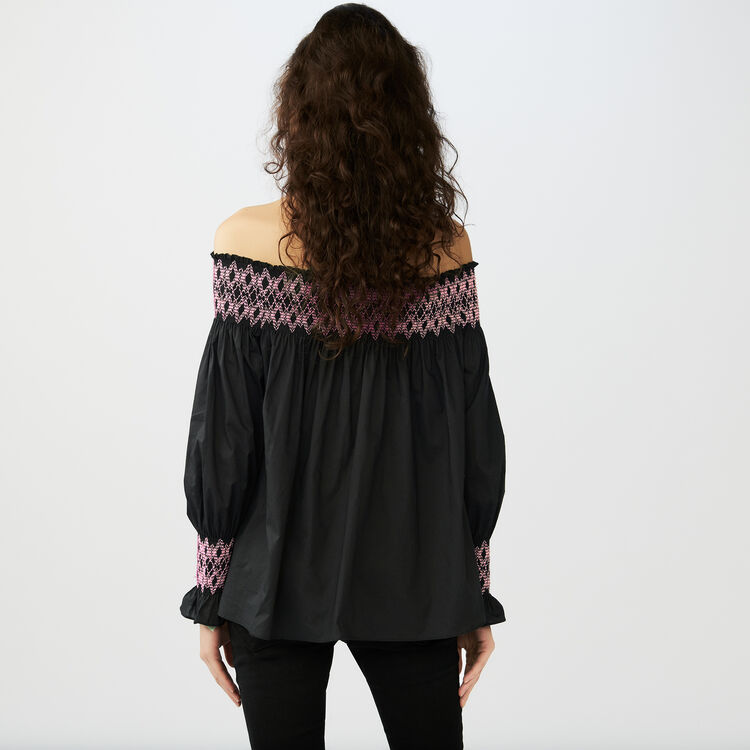Smocked cold shoulder top : Tops & Shirts color Black 210