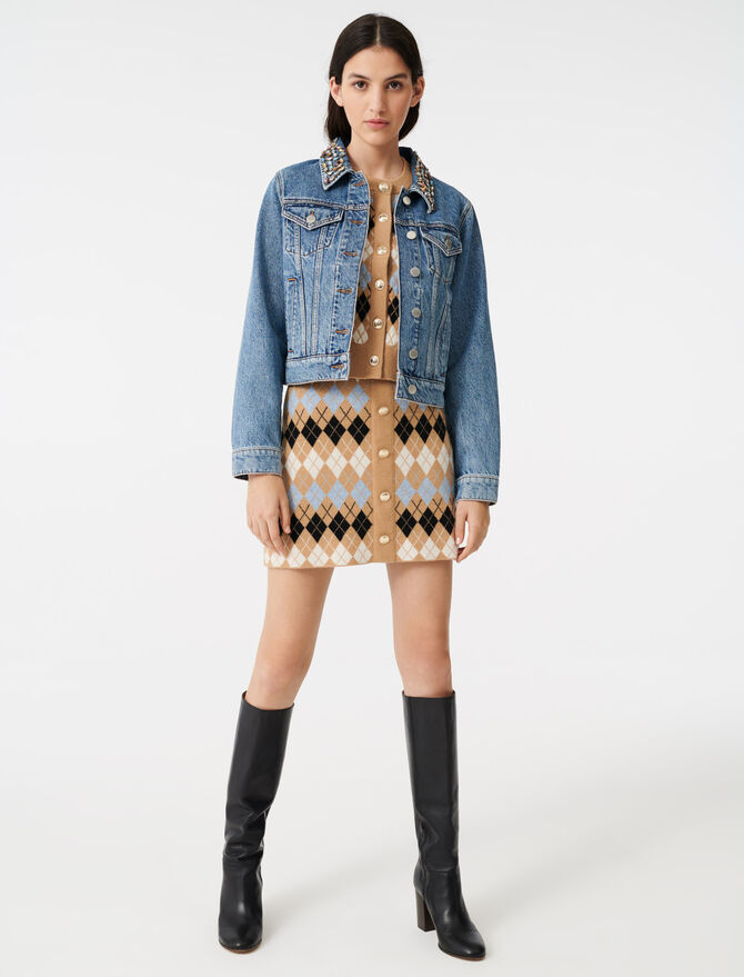 Denim jacket with gem collar - The Essentials - MAJE