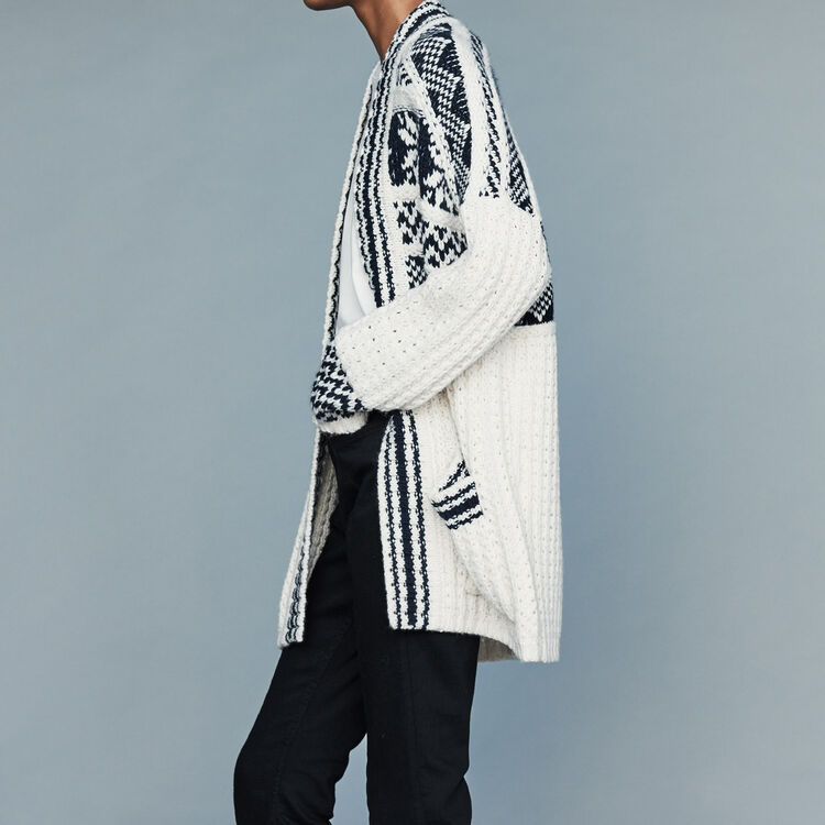Oversize jacket in jacquard knit : Sweaters color Ecru