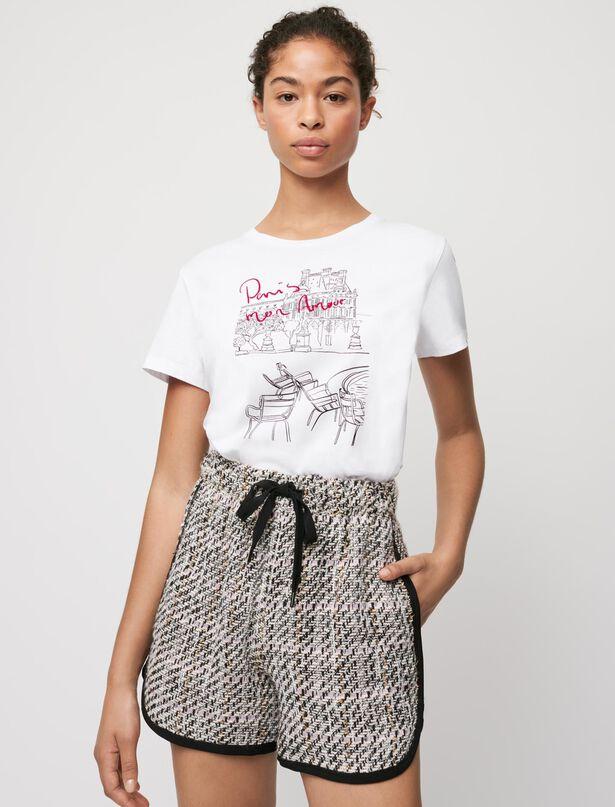 마쥬 티셔츠 MAJE Paris silkscreen printed cotton T-shirt