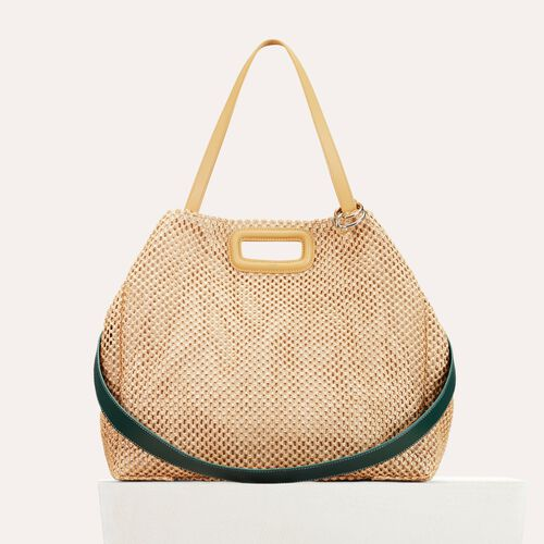 Raffia and leather tote bag : Handbags & Purses color NATURELS