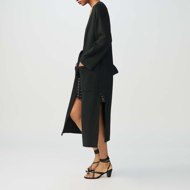 Long belted cardigan : Sweaters color Black 210