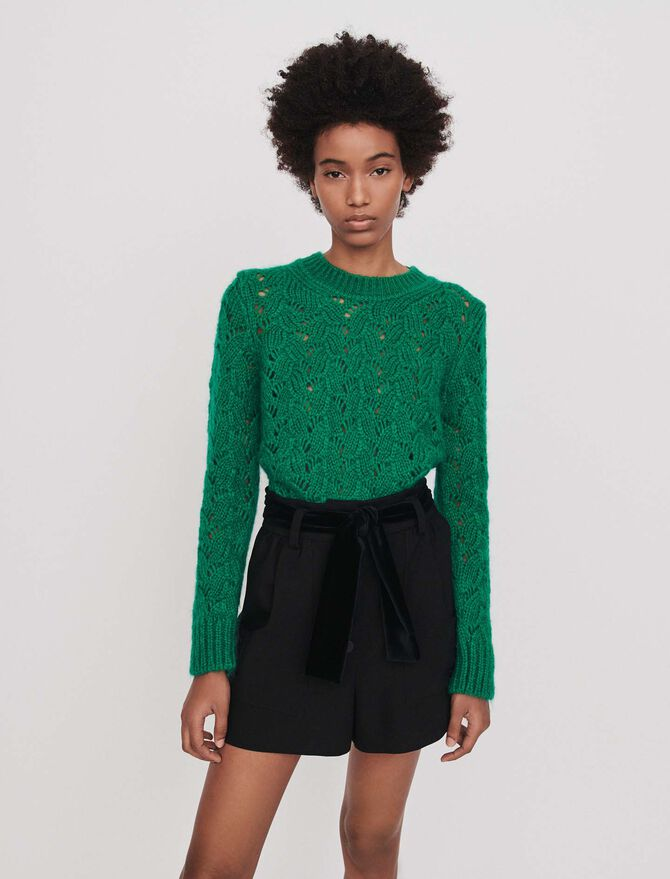 Belted velvet shorts - Skirts & Shorts - MAJE