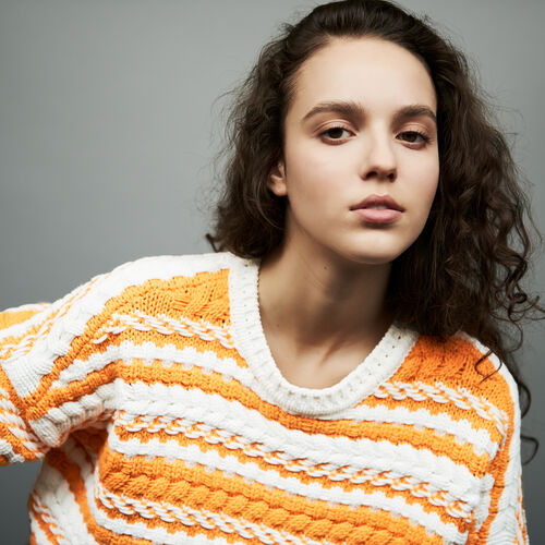 Oversize sweater in bicolor knit : Sweaters color Multi-Coloured