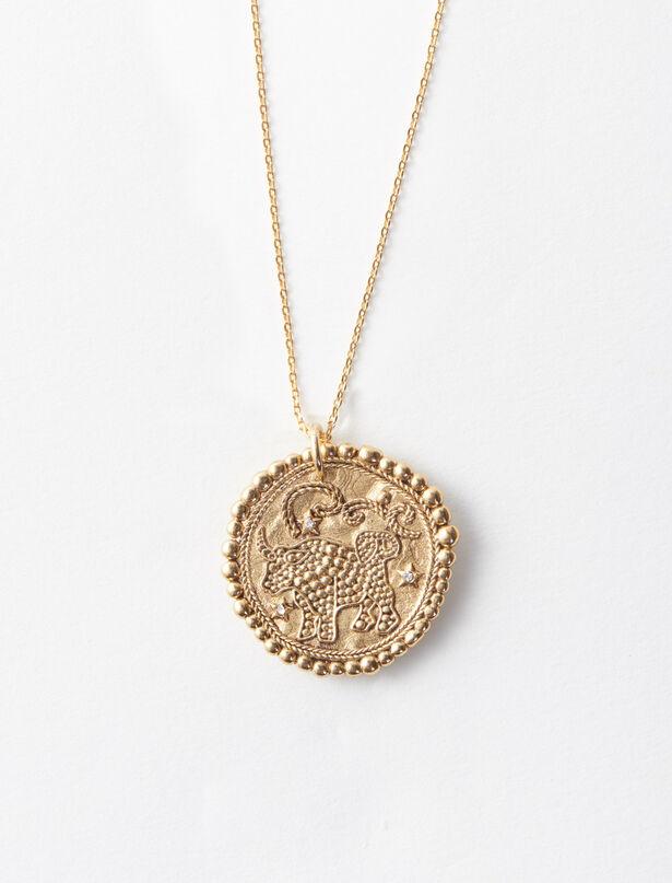 마쥬 MAJE Taurus zodiac sign necklace,Old Brass