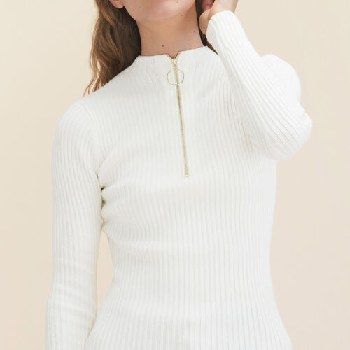 Stretch-knit thin jumper : Sweaters color Ecru