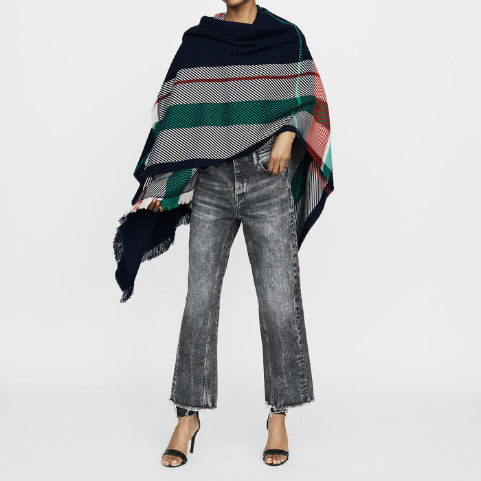 Jacquard poncho : Shoes & Accessories color Multico