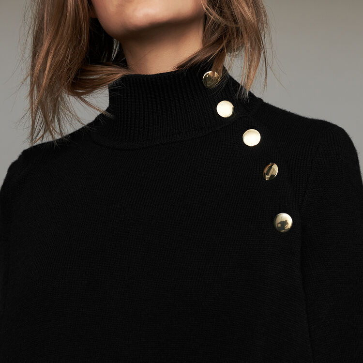 Funnel collar poncho in wool blend : Sweaters color Black 210