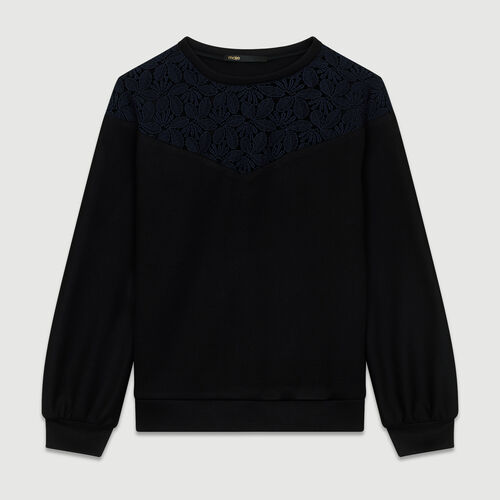 Lace sweatshirt : Tops & T-Shirts color Black 210