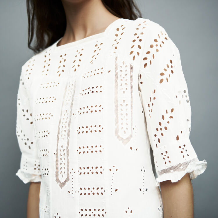 Embroidered cotton top : Tops & T-Shirts color White