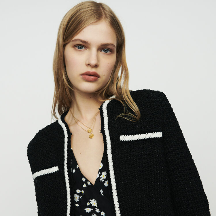 Cropped wool cardigan : Sweaters color Black 210