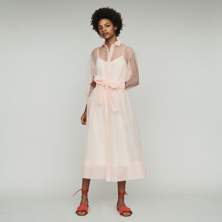 Long organza-style shirt dress : Dresses color Sea Green