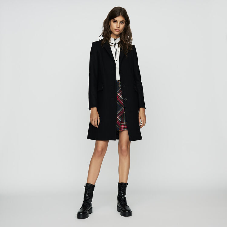 Straight coat in virgin wool : Coats & Jackets color Black 210