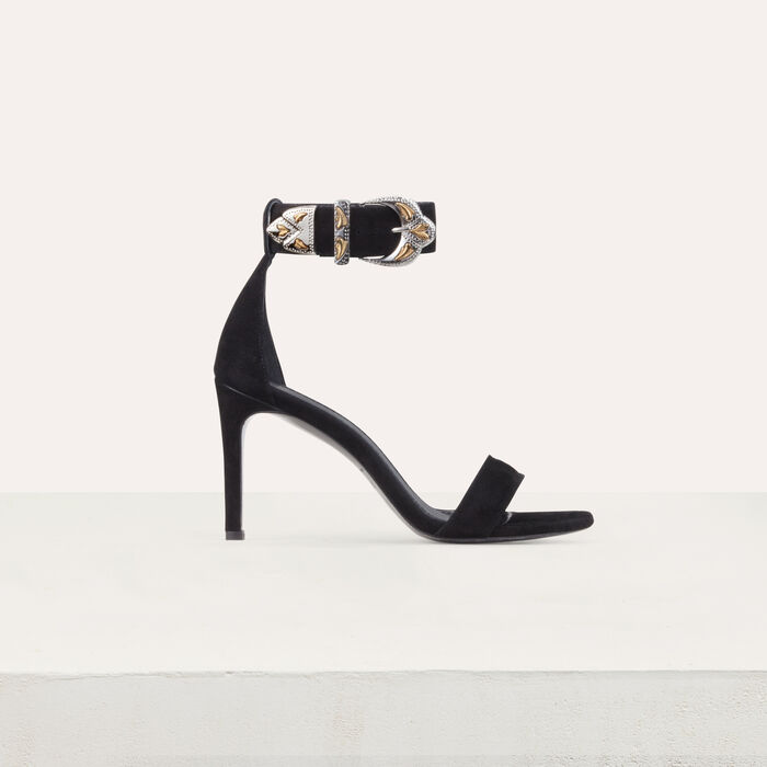 Suede heeled sandals : Shoes & Accessories color Black 210